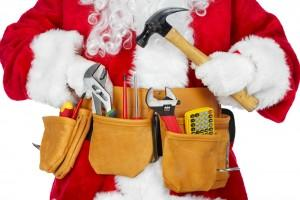 Xmas Santa Blue Collar Worker